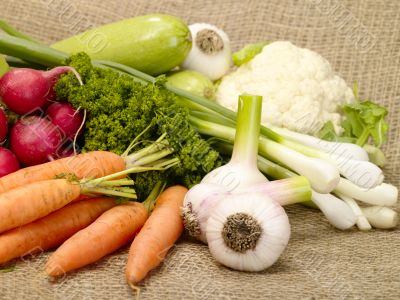 fresh tasty vegetables on burlap
