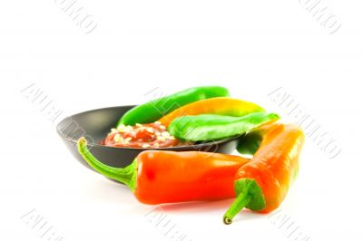 Chillis and Dipping Sauce in a Bowl