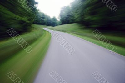 Blurred Road Through Saratoga Springs
