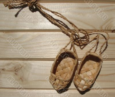 Footwear named lapty or bast shoes.