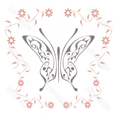 The butterfly with floral pattern frame