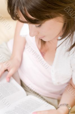 Beautiful woman read the book