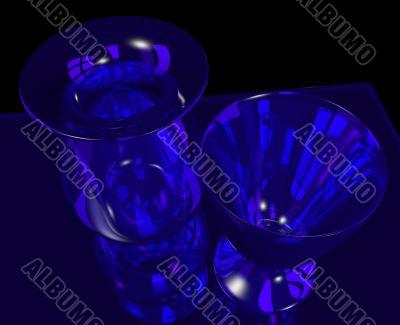 blue glass vase and goblet