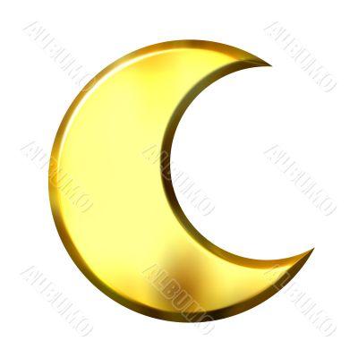 3D Golden Crescent Moon