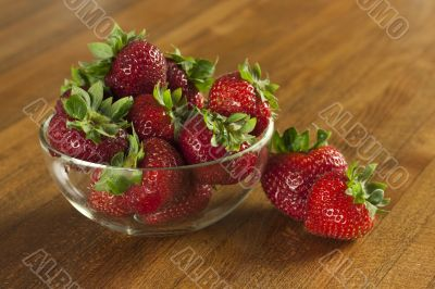 Strawberries on table