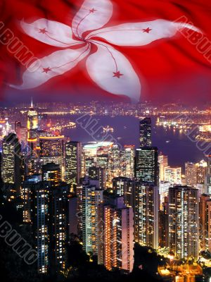 Hong Kong Skyline and Flag