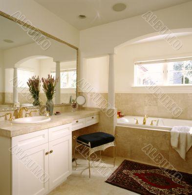 White Bathroom. Interior.