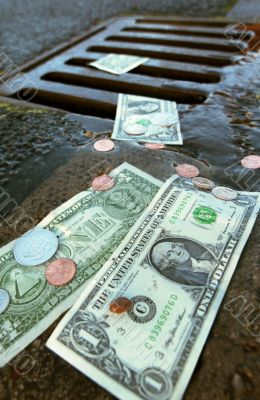 Money on ground. dollar and cents