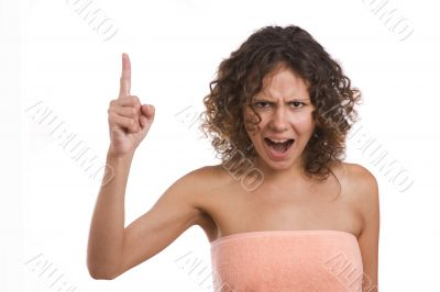 A woman screaming with crazy expression.