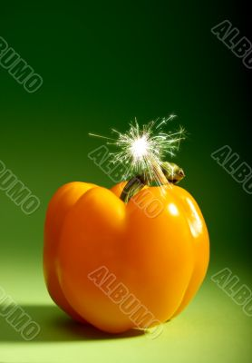 Conceptual background of fiery pepper
