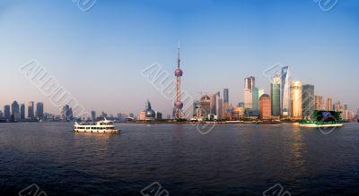 shanghai pudong finacial district panoramic view