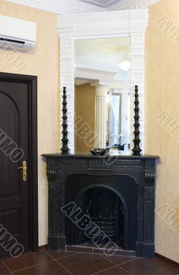 Interior about a fireplace