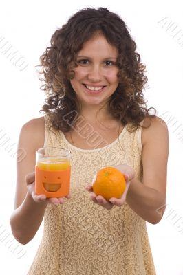 Woman with orange and orange juice.