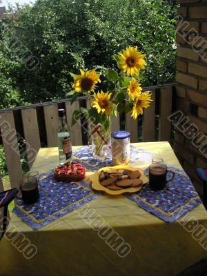 morning meal and sunflowers