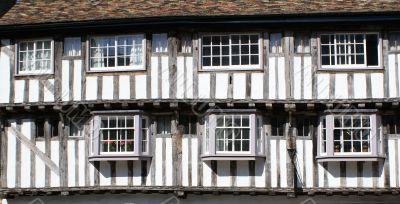 Tmber-framed and plastered medieval house