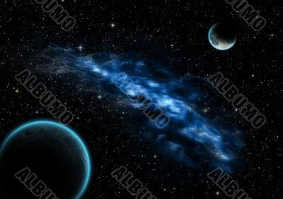 Nebula between moon and earth, photoshop