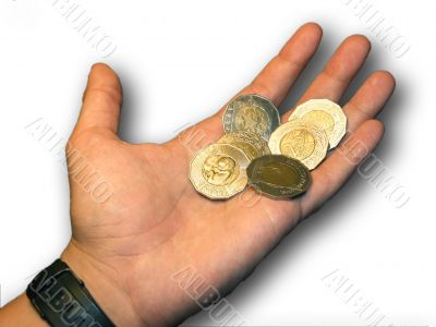 Money on palm of a male hand