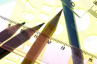 measurement tool with pencil close up