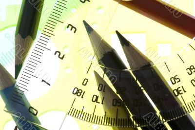 measurement tool with pencil closeup