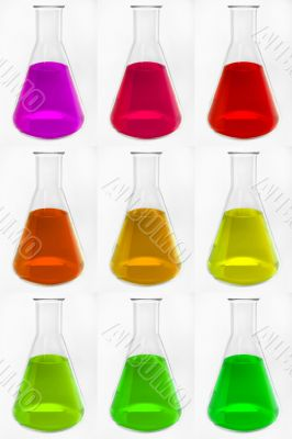 chemical glass retorts with colorful liquid