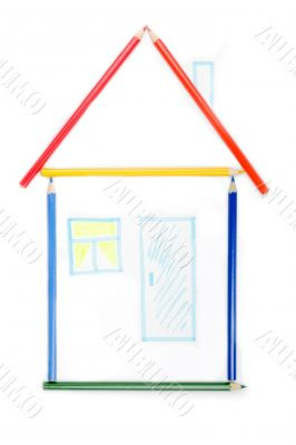 House from color pencils. Isolated on white background.