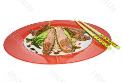 Crisp duck with baby pok choi