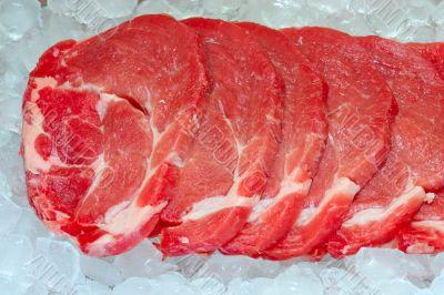 fresh pork on board ready to cook ice storage