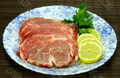 slices of fresh pork meat