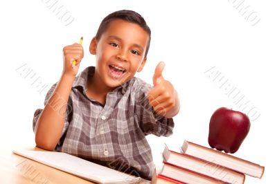 Adorable Hispanic Boy with Books, Apple, Pencil and Paper