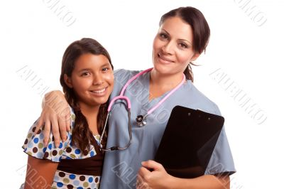 Pretty Hispanic Girl and Female Doctor Isolated