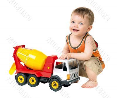 child playing car