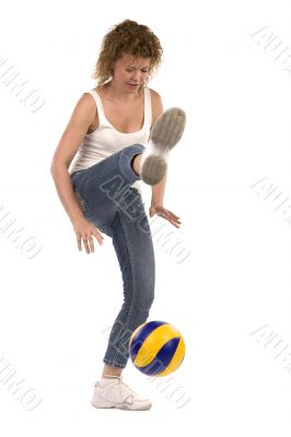 sports woman with ball on white background