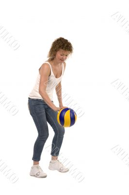sports woman with ball on white
