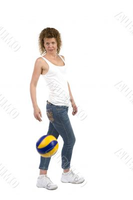 woman with ball on white background