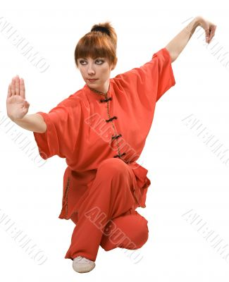 young woman makes kung-fu exercise
