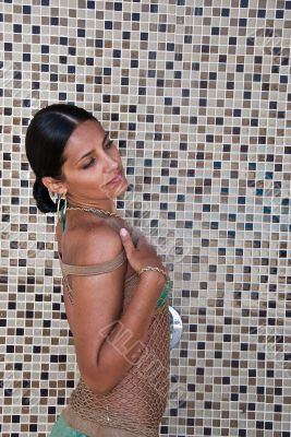 The glamour model poses in a shower