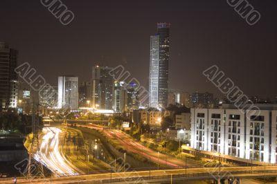 Night city with traffic