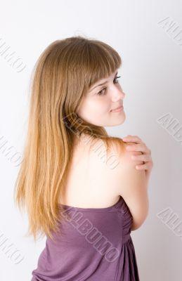 girl in a violet dress