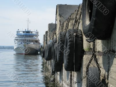 The tourist steam-ship at a mooring in Saratov