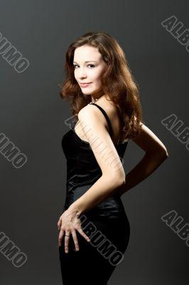 passion pretty woman in black evening dress