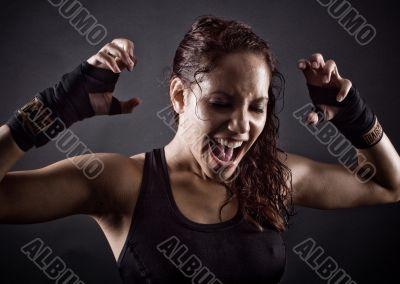 Angry workout girl