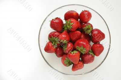 Strawberry dish on a white background