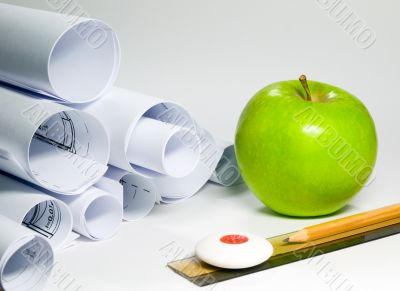 Paper and green apple