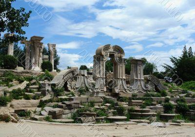 Ruins of the old summer palace Yuanmingyuan,  Beijing, China