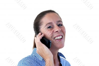 Middle Aged Business Woman Laughing on the Phone