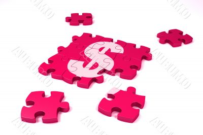 A dollar symbol maded by puzzle`s pieces