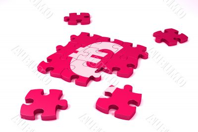A euro symbol maded by puzzle`s pieces