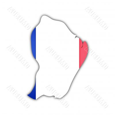 map and flag of french guyana