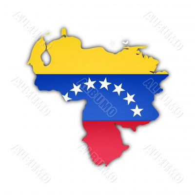 map and flag of venezuela