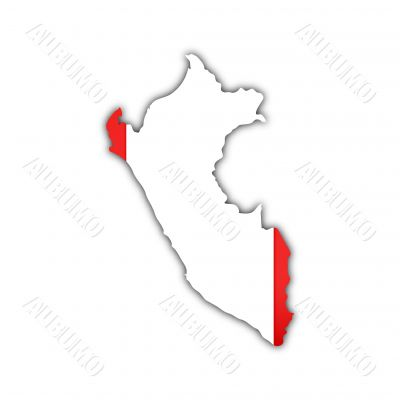 map and flag of peru